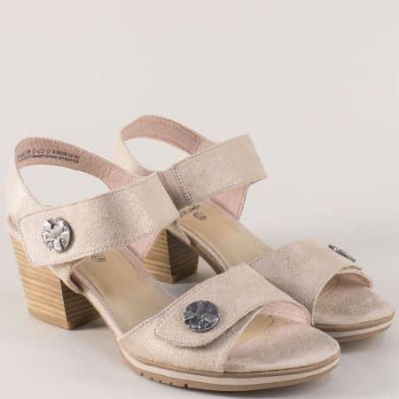 Бежови дамски сандали на среден ток с лепка- Jana  828308bj