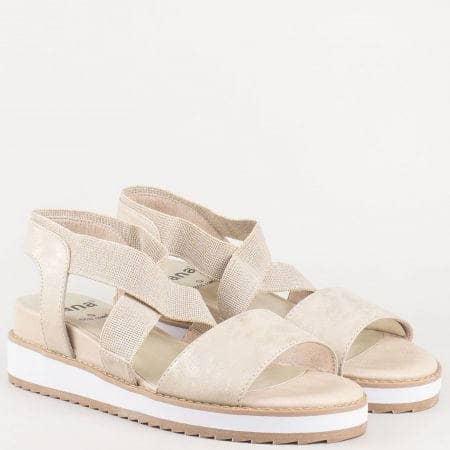 Дамски шити сандали в бежов цвят на клин ходило от немският производител- Jana   828603bj