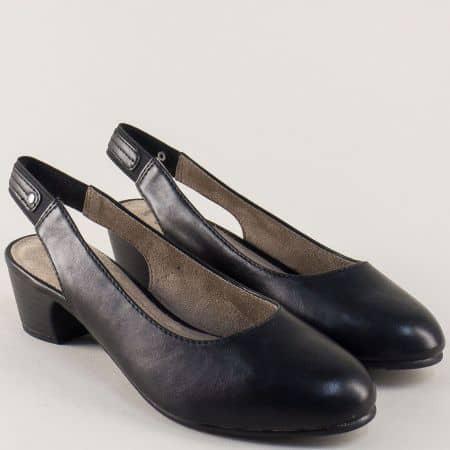 Черни дамски обувки с отворена пета и среден ток- Jana 829561ch