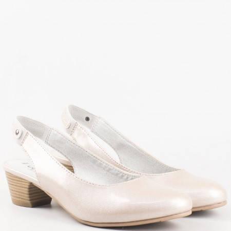 Дамски удобни обувки за всеки ден с ластична каишка на немската марка Jana  в бежов цвят 829561lbj