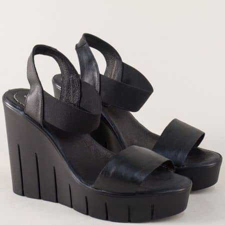 Черни дамски сандали на платформа с кожена стелка 830937ch