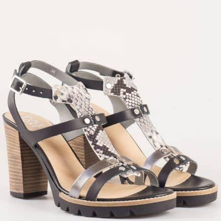 Дамски сандали за всеки ден произведени от висококачествена естествена кожа на Bull Boxer в черен цвят 833006ch