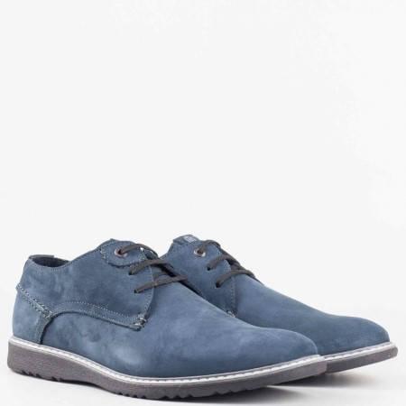 Мъжки ежедневни обувки изработени от изцяло естествен набук в син цвят 83338ns