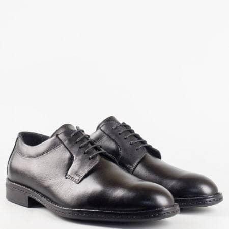 Класически елегантни мъжки обувки от естествена кожа в черен цвят 8336ch