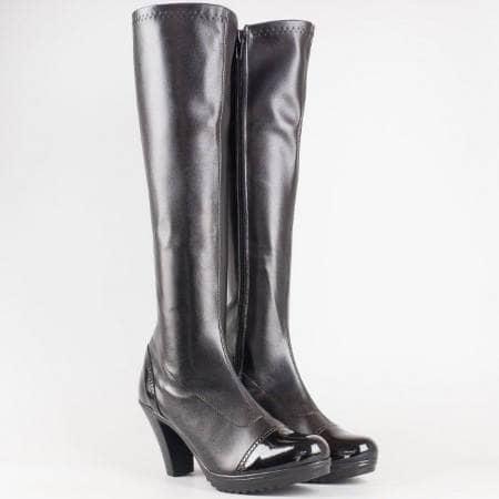 Дамски стилни ботуши от стреч материал и еко лак на български производител в черен цвят 83510285chlch