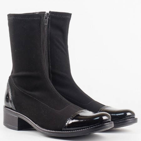 Дамски боти от комфортен стреч материал с еко лак на български производител в черен цвят 8355555nchlch