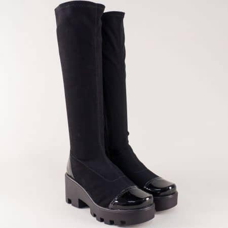 Черни дамски ботуши на грайферна платформа 8356641nch