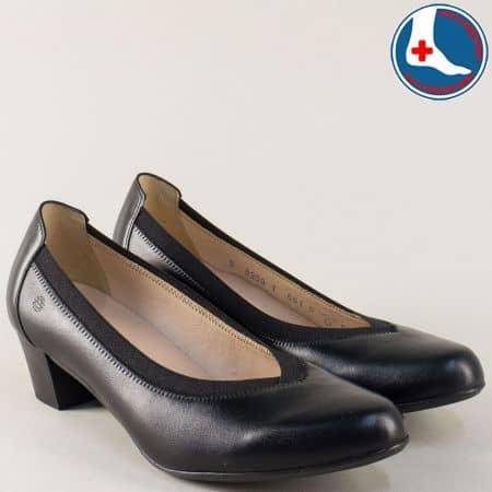 Дамски обувки с ластик от черна естествена кожа на ток 8359ch