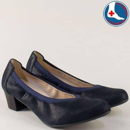 Сини дамски обувки на среден ток с кожена стелка 8359s