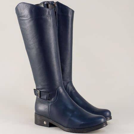 Дамски ботуши на нисък ток от синя естествена кожа 842s