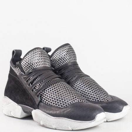 Дамски спортни обувки с връзки- летни от естествена кожа и велур на българският производител Navvi в сребристо и черно 8434ch