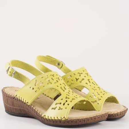 Модерни дамски сандали Glamourella от естествена кожа в зелен цвят 8497z