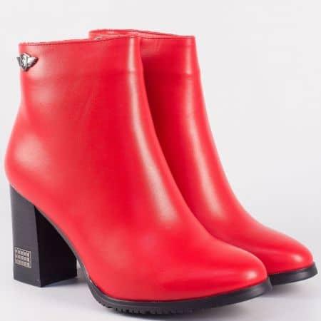 Червени дамски боти с цип на висок ток- Eliza  9532123chv