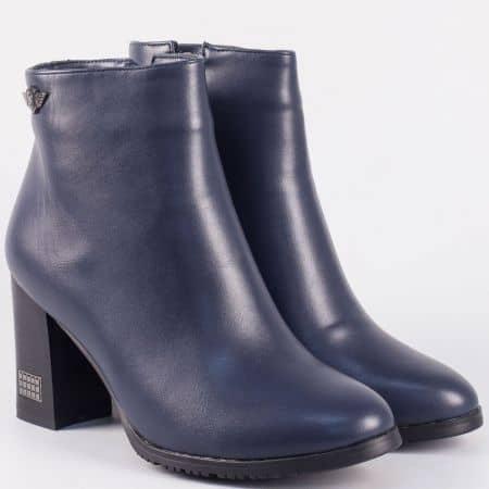 Дамски тъмно сини боти на висок ток- Eliza   9532123s