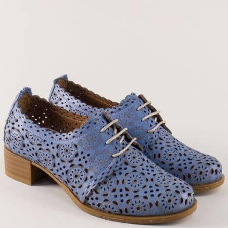 Кожени дамски обувки на нисък ток в син цвят 8561s