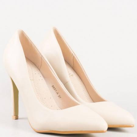 Бежови елегантни обувки на висок ток с кожена ортопедична стелка 8651bj