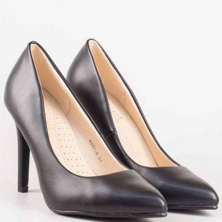 Дамски обувки на висок ток в черен цват с кожена ортопедична стелка 8651ch