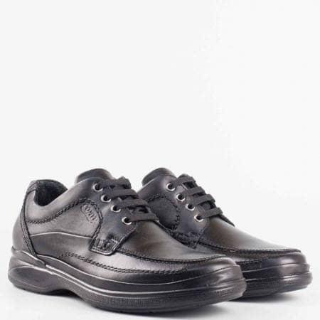 Мъжки комфортни обувки от висококачествена естествена кожа на български производител в черен цвят 8762ch