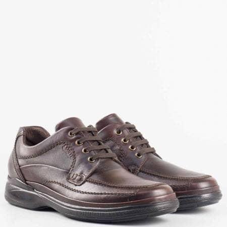 Мъжки кафяви обувки на комфортно ходило изработени от естествена кожа на български производител 8762kk