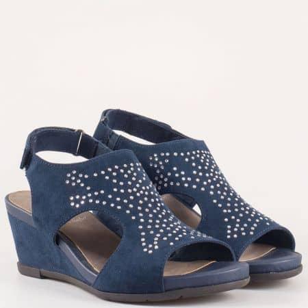 Дамски сандали за всеки ден на комфортно клин ходило на Jana в синьо  828701s