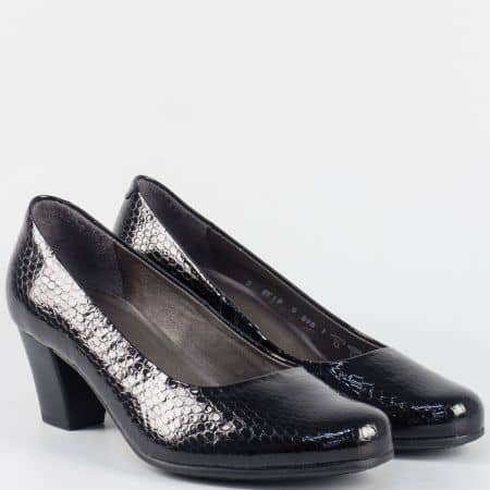 Дамски обувки на среден ток- ALPINA от черен естествен лак 879lch