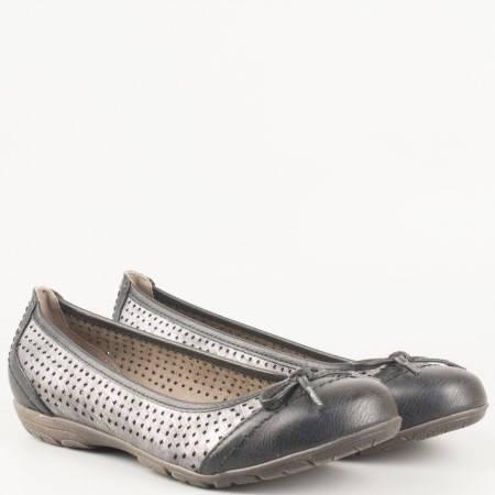 Дамски комфортни обувки, тип балерина, с интересна перфорация на немската марка Jana в черен и сив цвят 8822168chsv