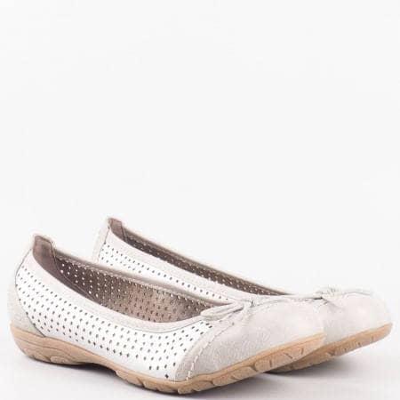 Дамски стилни обувки, тип балерини, на немския производител Jana в сив цвят 8822168sv