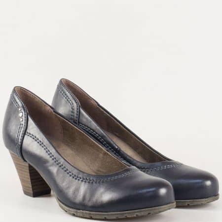 Тъмно сини дамски обувки на среден ток от немският производител Jana 8822462s