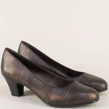 Бронзови дамски обувки на комфортно ходило със среден ток 8822463brz