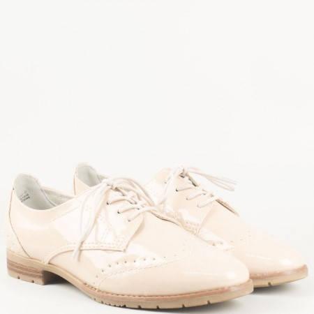 Дамски ежедневни обувки с връзки на удобен нисък ток на немския производител Jana в бежов цвят 8823260lbj