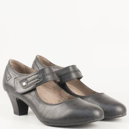 Дамски ежедневни обувки на среден ток с велкро лепенка и ластик на немския производител Jana в черен цвят  8824462ch