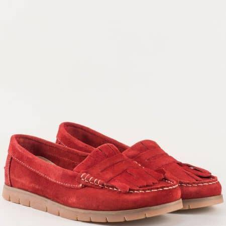 Дамски комфортни обувки, тип мокасина, произведени от изцяло естествен велур на немския производител Jana в червено 8824606vchv