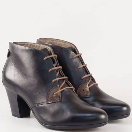 Черни дамски боти на висок ток Jana от естествена кожа 8825102ch