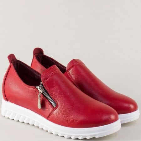 Червени дамски обувки на бяла стабилна платформа 8825chv