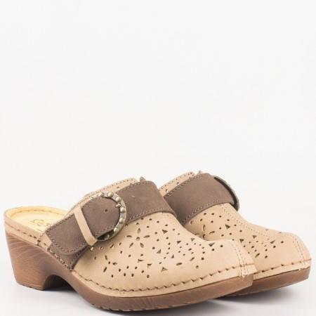 Дамски чехли, тип сабо, произведени от 100% естествена кожа и велур на немския производител Jana в светло кафяв цвят 8827303k