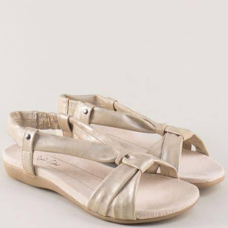 Немски дамски сандали в златисто на равно ходило 8828160zl