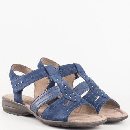Сини ежедневни сандали- дамски на нисък ток с велкро лепка и капси от немският производител Jana 8828163vs