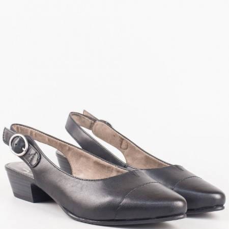 Комфортни дамски обувки на нисък ток с отворена пета от черна естествена кожа на немският производител Jana 8829400ch