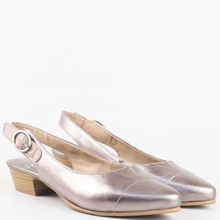 Сребърни дамски обувки с отворена пета от естествена кожа на нисък ток с вградена Flex - Comfort система  - Jana 8829400sv