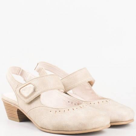 Комфортни дамски обувки на среден ток с отворена пета в бежов цвят- Jana  8829560bj