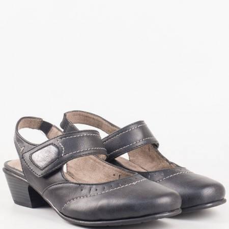Ежедневни дамски обувки с лепка на среден ток в черно на немски производител 8829560ch