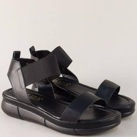 Дамски сандали в черно с ластик около глезена на комфортна платформа 88522ch