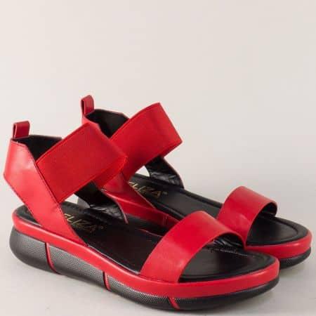 Дамски сандали на комфортна платформа и ластик в червен цвят 88522chv