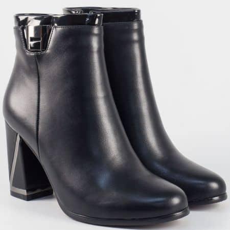 Дамски боти на висок модерен ток- Eliza в черен цвят 8870147ch