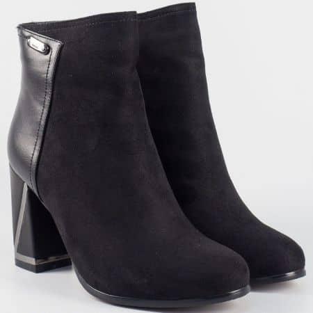 Дамски елегантни боти на висок ток в черен цвят- Eliza  8870148vch
