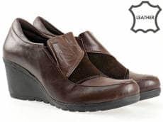 Дамски обувки от естествена кожа на цяла платформа с комбинация от естествена кожа и велур 88733k