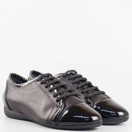 Комфортни дамски спортни обувки, изработени от естествена кожа с лачени детайли 88ch