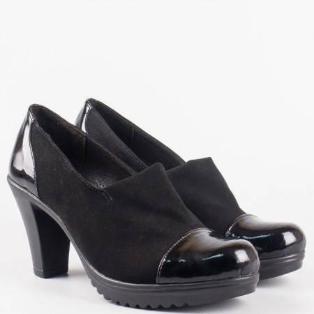 Дамски ежедневни обувки от стреч материал и лак с кожена стелка на български производител в черен цвят 89710285nchlch