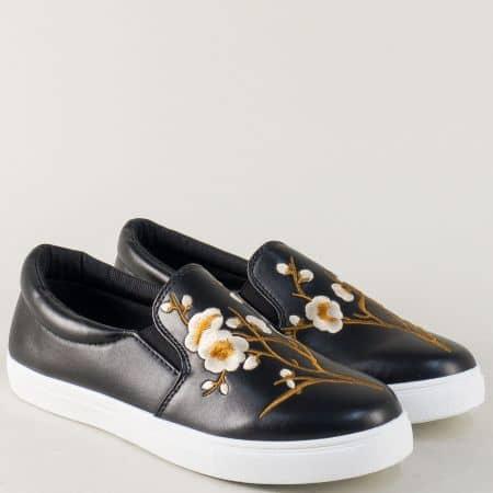 Спортни дамски обувки на равно ходило в черен цвят 8987ch