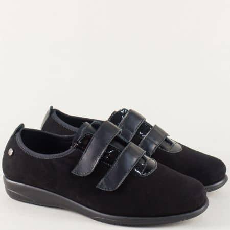 Черни дамски обувки от естествен велур, лак и кожа 9000300vch